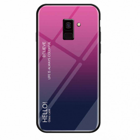 TPU+Glass чехол Epik Gradient HELLO для Samsung J600F Galaxy J6 (2018) Малиновый