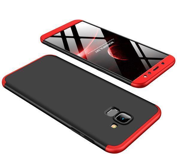 Пластиковая накладка GKK LikGus 360 градусов для Samsung Galaxy A6 Plus (2018) Черный /Красный