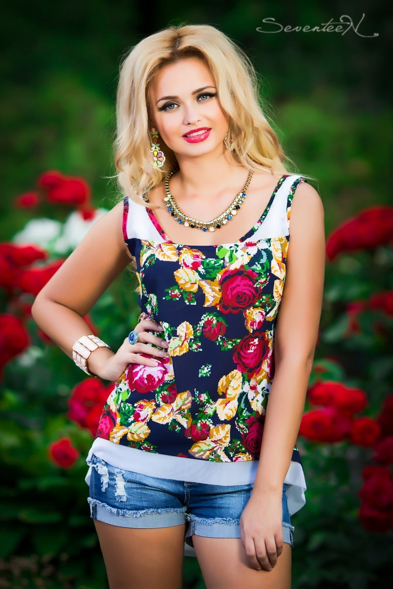 ТУНИКА летняя цветочный принт Шифоновая блуза, фото 1