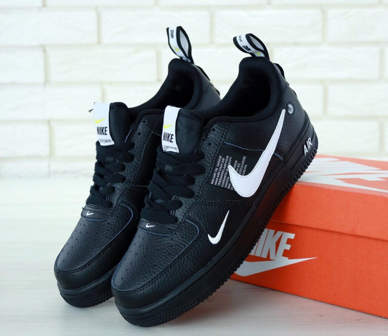 Черные кожаные кроссовки Nike Air Force 1 Low TM 07 Black (Найк Аир Форс женские и мужские размеры 36-46)