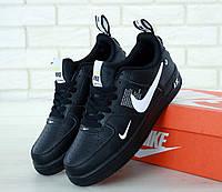 Черные кожаные кроссовки Nike Air Force 1 Low TM 07 Black (Найк Аир Форс женские и мужские размеры 36-46), фото 1