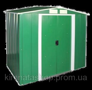 Сарай металлический 2,02*1,22 м ECO зеленый с белым