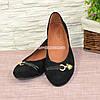"""Туфли женские замшевые черного цвета  на низком ходу. ТМ """"Maestro"""", фото 2"""