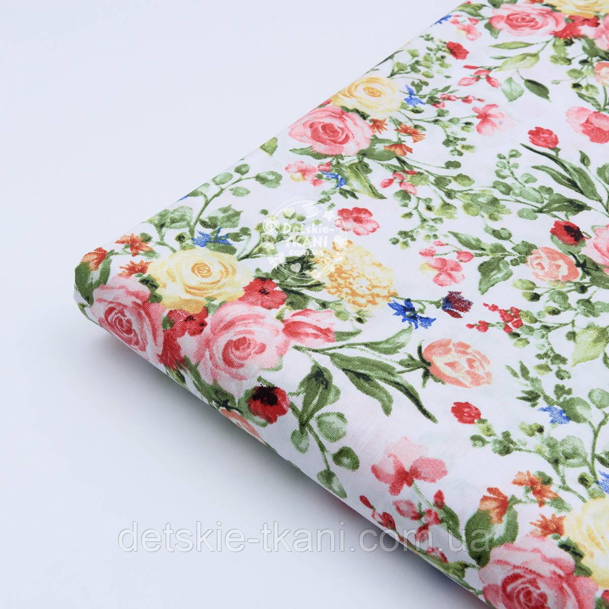"""Лоскут ткани """"Жёлто-коралловые букетики"""" на белом №1822а, размер 29*80 см"""