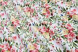 """Лоскут ткани """"Жёлто-коралловые букетики"""" на белом №1822а, размер 29*80 см, фото 2"""