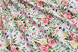"""Лоскут ткани """"Жёлто-коралловые букетики"""" на белом №1822а, размер 29*80 см, фото 5"""
