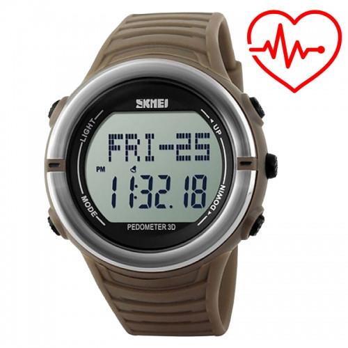 Часы спортивные, фитнес-трекер Skmei 1111, коричневый, в металлическом боксе