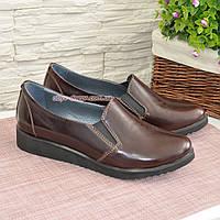 Туфли женские из натуральной лаковой кожи коричневого цвета. 37 размер