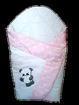 Конверт ковдра для новонародженних на виписку весна літо осінь 80х80см Панда рожевий