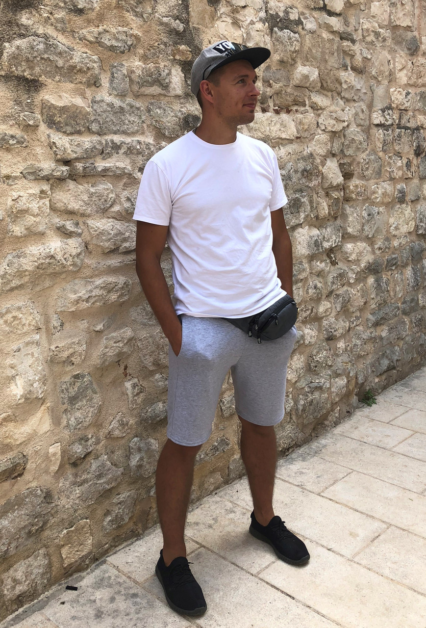 Костюм мужской футболка+шорты белый с св-серым