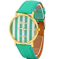 Женские часы Geneva  зеленые модные полоски