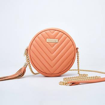 Модная маленькая женская сумка. Сумка женская круглая с кисточкой (коралловая)
