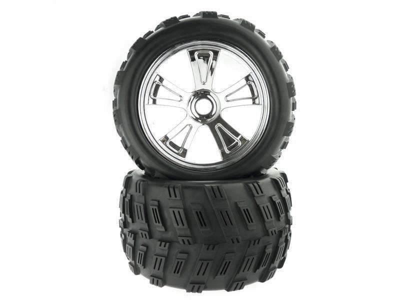 8E161 1:8 Chrome Rim & Tire Complete For Monster Truck 2P