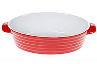 Овальная форма для выпечки с ручками 28см, цвет - красный с белым