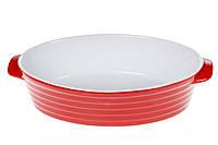 Овальная форма для выпечки с ручками 35см, цвет - красный с белым