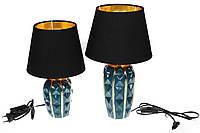 Лампа настольная с керамическим основанием и тканевым абажуром с золотистым покрытием внутри, цвет - малахитовый