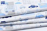 """Лоскут ткани """"Голубые мини-машинки в городе"""" на белом  № 1667а, фото 3"""