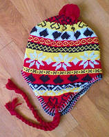 Теплая зимняя шапочка желто-красная