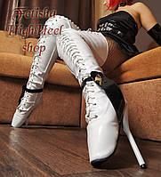 Балетные лаковые ботфорты на шпильке, фетиш. Белые и черные