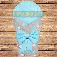 Летний конверт одеяло плед 80х80 на лето детский на выписку новорожденных из роддома тонкий 4704 Голубой