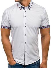 Рубашка мужская короткий рукав (Белый) код 122