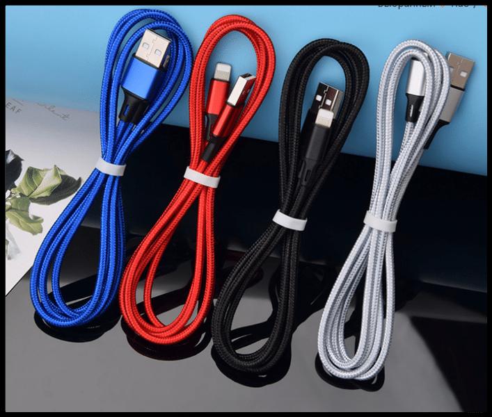 Кабель зарядка для телефона для Apple Lightning тканевый 1,2М 2,5A USB чёрный, серебро
