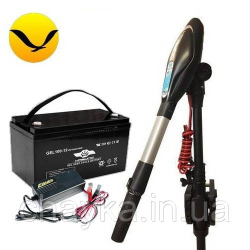 Электромотор для лодки Haswing Protruar G-4.0 +120a/h GEL аккумулятор +зарядка 10A. Комплект; (Лодочный электромотор Хасвинг Протруар 4.0);