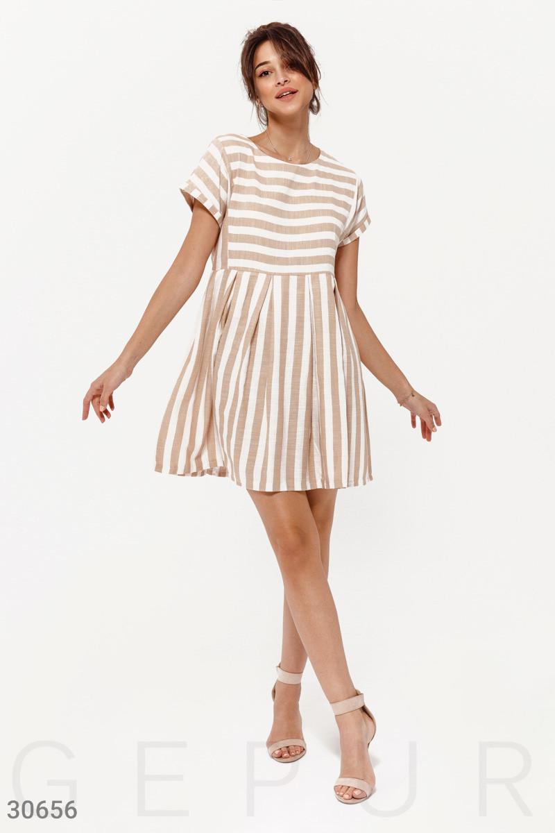8f242e639d98000 Короткое Летнее Платье в Полоску Бежевое — в Категории