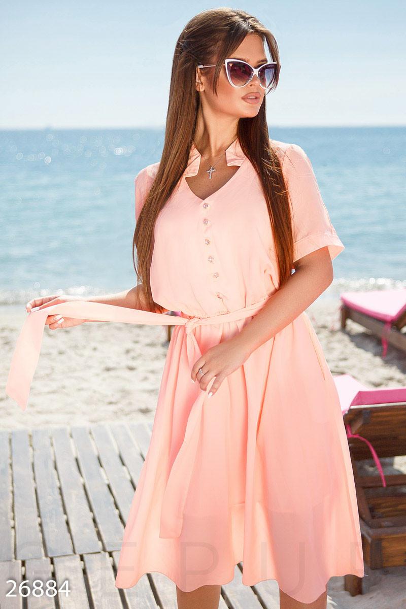 Шифоновое платье миди с вырезами на рукавах розовое