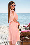 Шифоновое платье миди с вырезами на рукавах розовое, фото 2