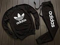 Женский легкий весенний/осенний/летний спортивный костюм черный адидас/Adidas без капюшона, реплика