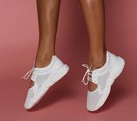 Летние облегченные кроссовки мокасины с перфорацией кожаные белые подошва в форме медвежонка, дышащая обувь