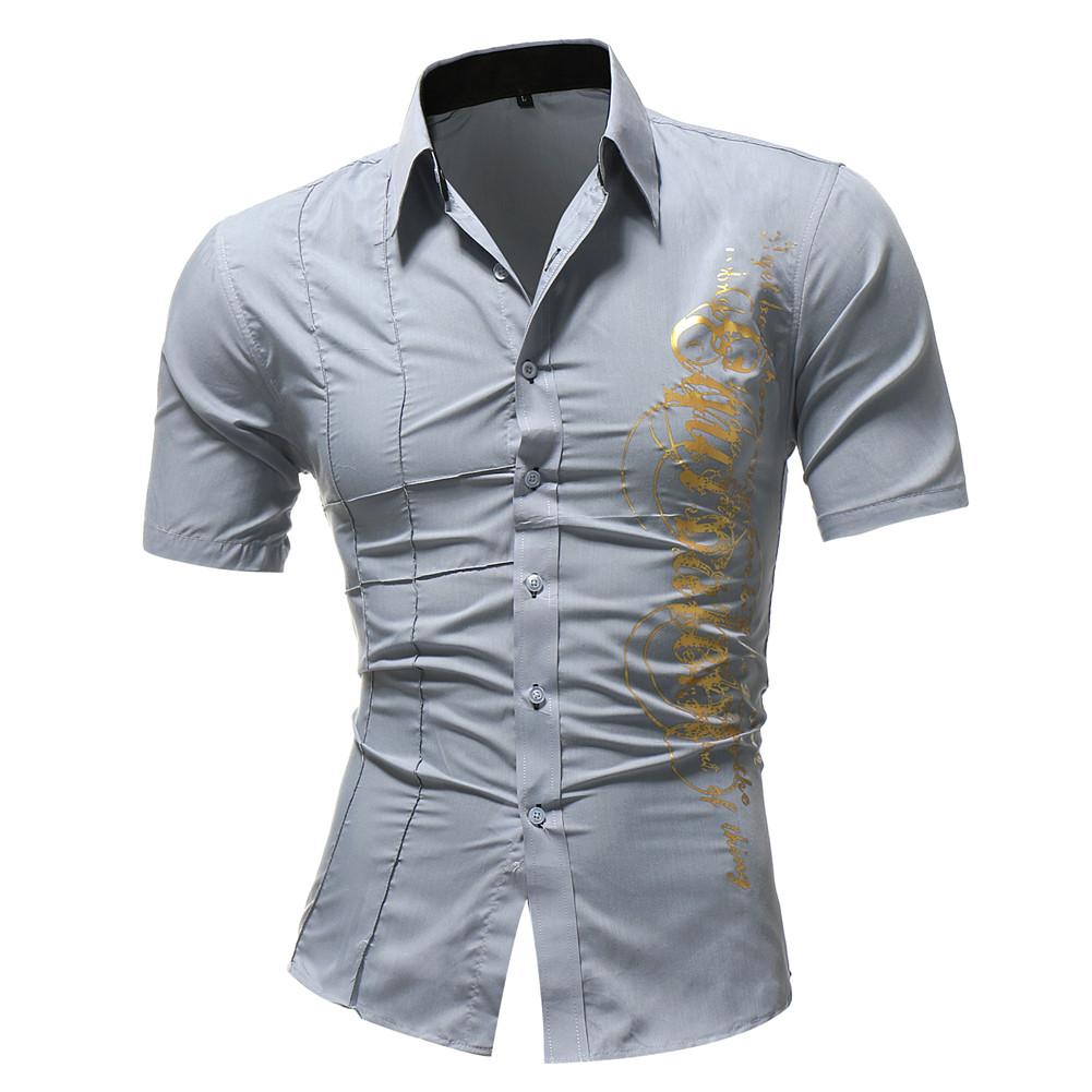 Рубашка мужская стильная короткий рукав с принтом (серая) код 124
