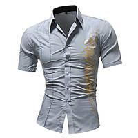 Рубашка мужская стильная короткий рукав с принтом (серая) код 124, фото 1