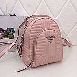 Рюкзак Прада Diagramme стёганный натуральная кожа, цвет розовый, фото 4