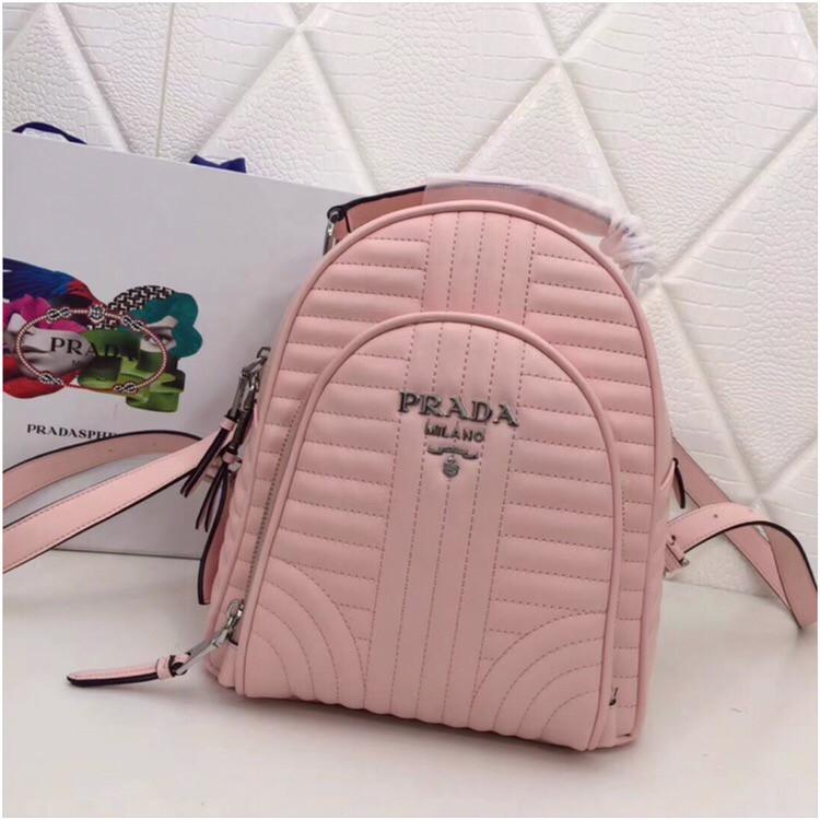 Рюкзак Прада Diagramme стёганный натуральная кожа, цвет розовый