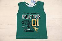 """Майка для мальчика """"faster"""" зеленая, размер 0/1, 3/4"""