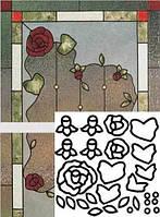 """Крупные витражные контуры """"Розы"""""""