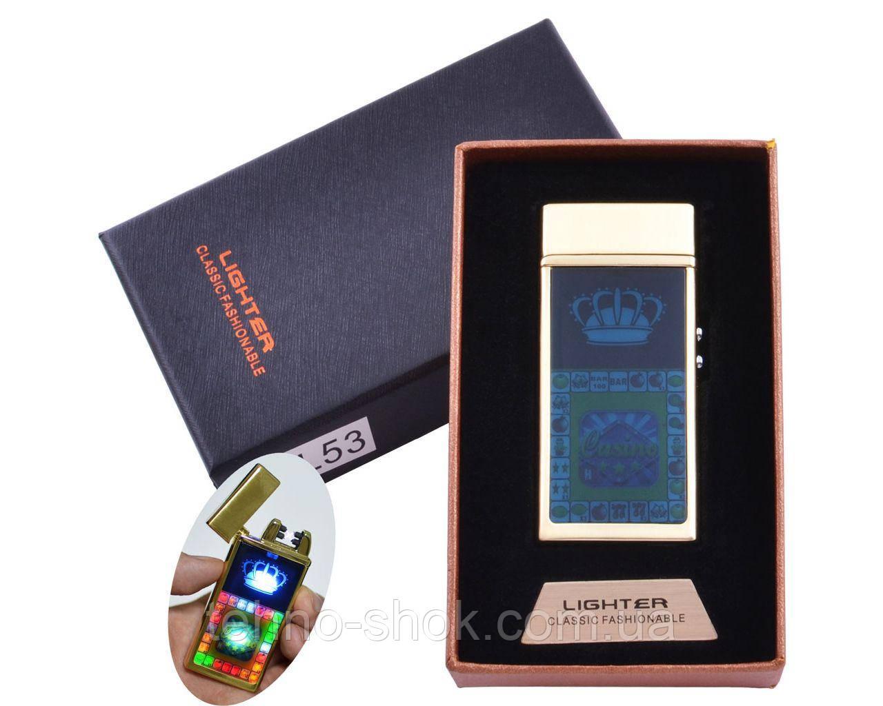 Зажигалка Lighter в подарочной коробке Casino (Двойная молния) Gold
