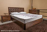 Кровать деревянная City Premium мягкая спинка квадраты с подъемным механизмом