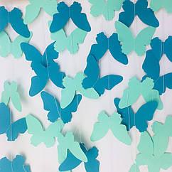 Гірлянда з метеликів 2 метри бірюзово-м'ятний мікс