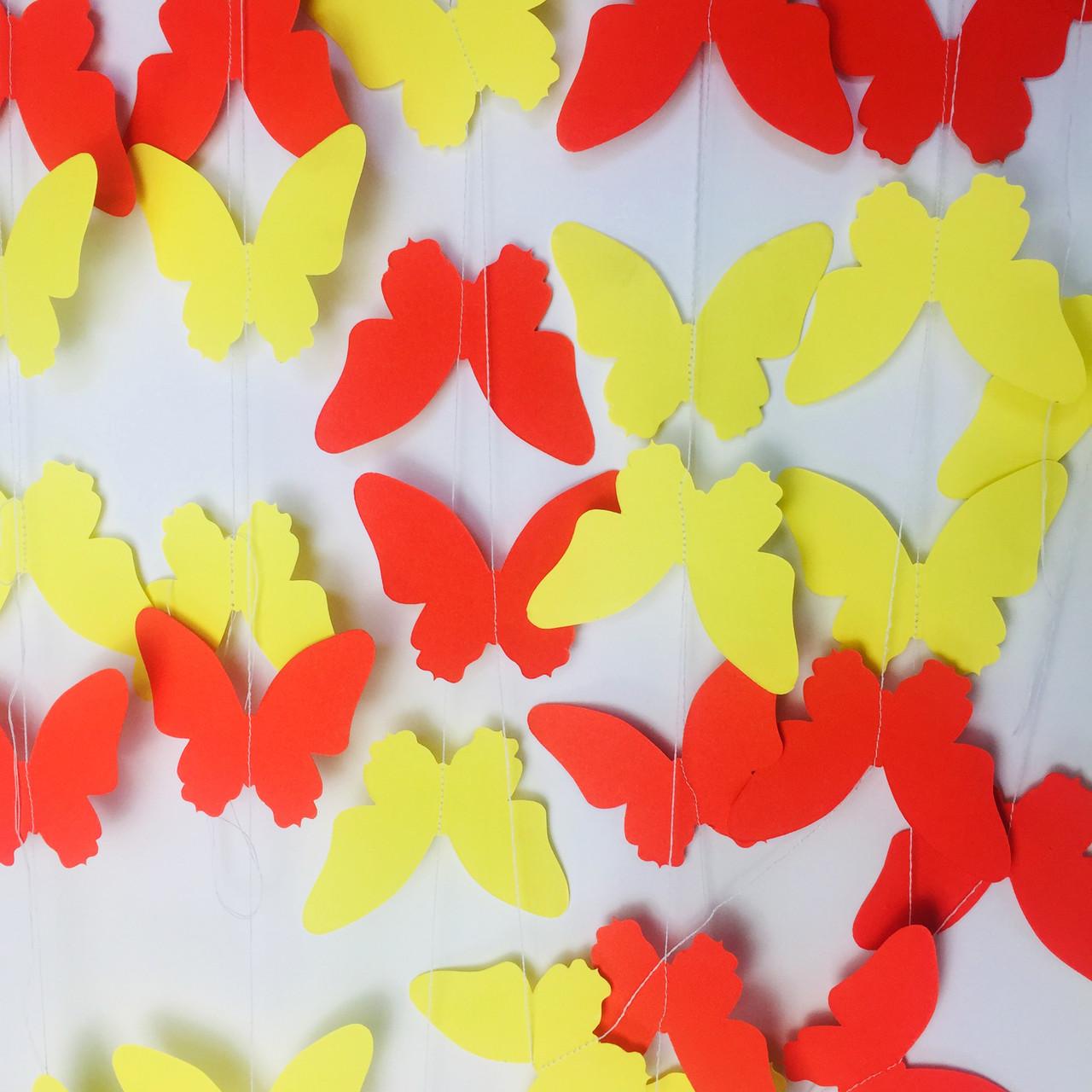Гирлянда из бабочек 2 метра желтый микс