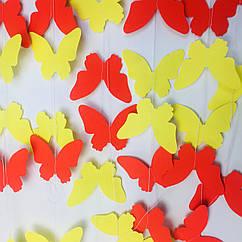 Гірлянда з метеликів 2 метри жовтий мікс