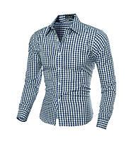 Рубашка с длинным рукавом синяя New 2021 код 131