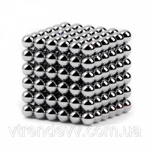 Головоломка конструктор Неокуб Silver Neocube в боксі 216 кульок 5 мм