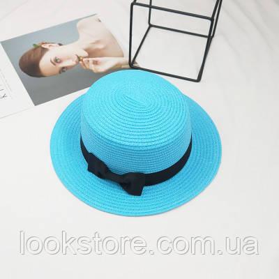 Женская летняя шляпа канотье с бантиком голубая