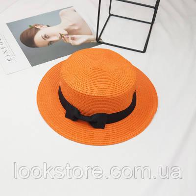 Женская летняя шляпа канотье с бантиком оранжевая