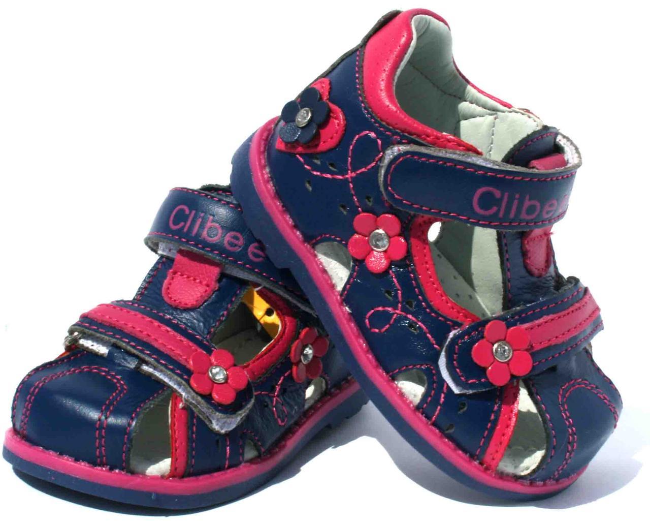 Детские кожаные босоножки для девочки Clibee Польша размеры 19-24