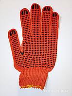Перчатки трикотажные уплотненные с ПВХ точкой оранжевые