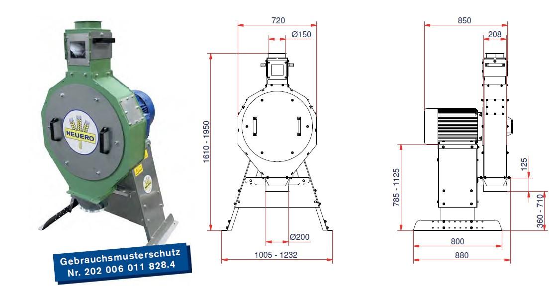 Молотковая зернодробилка RVO 65 производительность до 3,2 т/час